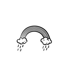 rainbow and raining clouds hand drawn sketch icon vector image