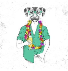 Retro hipster animal dog with tropic cocktail vector