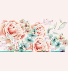 Rose flower card watercolor vintage retro vector