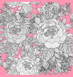 seamless pattern with various flowers and peonies vector image