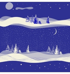 seamless winter background with moon vector image