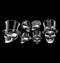 set black and white skulls vector image