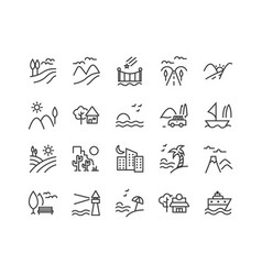 set landscape related line icons vector image