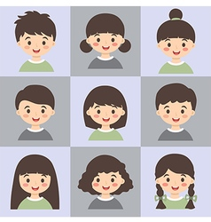 Set of Kids Face Avatar Army Green Gray vector