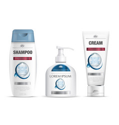 Shampoo packaging cream tube soap bottle template vector