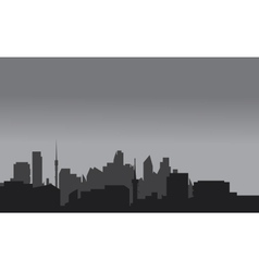 Silhouette of home town with gray color vector