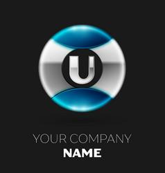 silver letter u logo symbol in silver-blue circle vector image