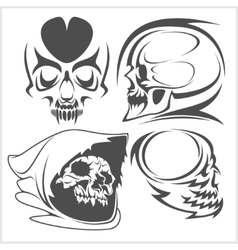 Skulls with tribal elements set vector image