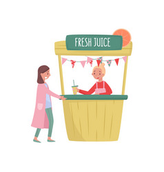 smiling woman buying fresh juice in street stall vector image