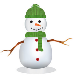 snowman with green hat and scarf vector image