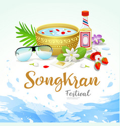 Songkran festival thailand water splash vector
