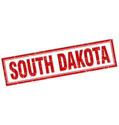 South dakota red square grunge stamp on white vector