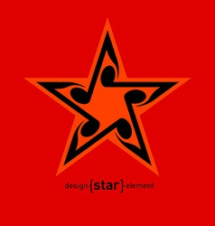 Star with wavy notes vector