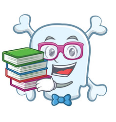 student with book skull character cartoon style vector image