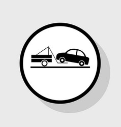 Tow truck sign flat black icon in white vector