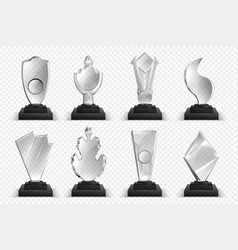 transparent trophies realistic glass crystal vector image