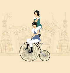 Two circus performers women on a retro bicycle vector