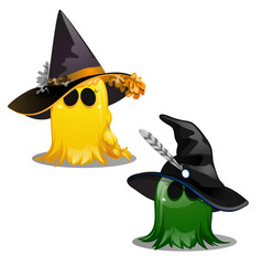 two colorful cute yellow and green ghost in hats vector image