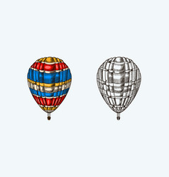 vintage hot air balloon retro flying vector image