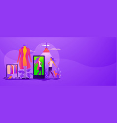 virtual fitting room web banner concept vector image