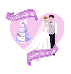 Wedding background with bride and bridegroom cake vector