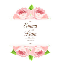 Wedding invitation card pink red rose flowers vector