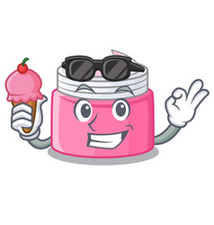 With ice cream face cream in the cartoon form vector