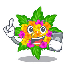 With phone lantana flowers in the mascot pots vector