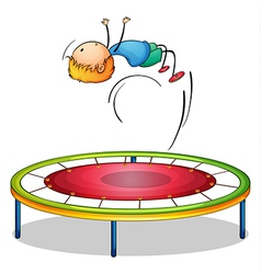 A boy playing trampoline vector image