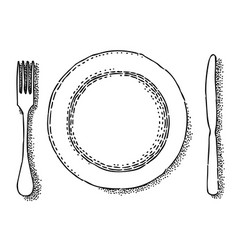 cartoon image of dish fork knife icon vector image