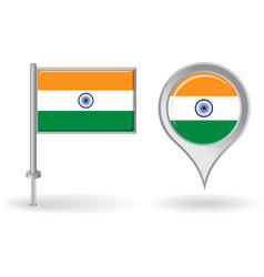 Indian pin icon and map pointer flag vector image