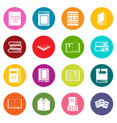 books icons many colors set vector image