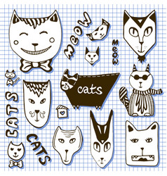 doodle cats collection hand drawn cartoon faces vector image