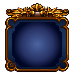 game blue screen with golden frame with copy space vector image vector image