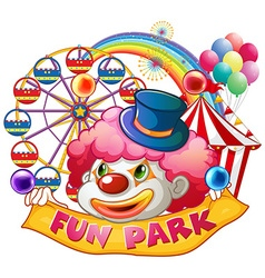Happy clown with fun park banner vector image