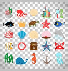 Marine life and cartoon ocean animals vector