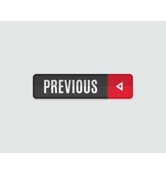 Previous web button flat design back vector image