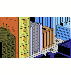 Retro Comics City Street Scene vector image vector image