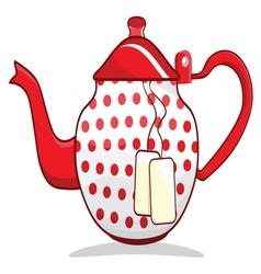 Retro red teapot vector image