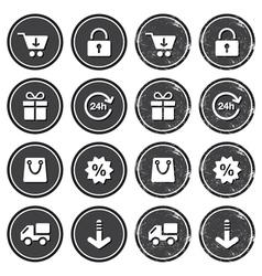 Shopping on internet retro badges - grunge style vector image vector image