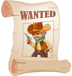A paper with a print of a wanted cowboy vector image vector image