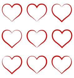 heart outline red set symbol of the friendship vector image vector image
