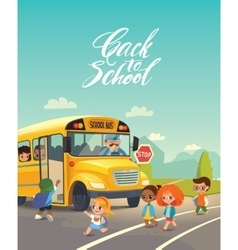 School bus traffic stop Back-To-School Safety vector image vector image