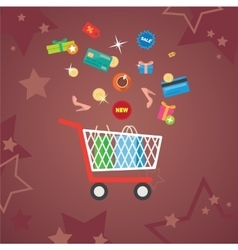 Set of flat design concept shopping icons vector image