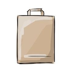 Shopping paper bag sketch for your design vector image