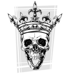 graphic black and white human skull with crown vector image vector image