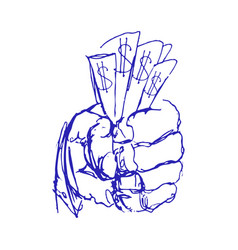 hand holding money sketch or doodle hands with vector image