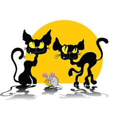 two cats and mouse vector image vector image