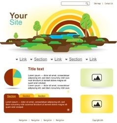 Website design with rainbow and trees vector image vector image