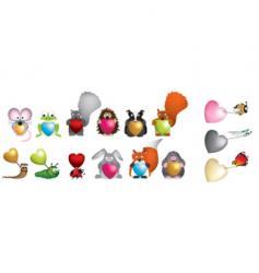 wildlife hearts vector image